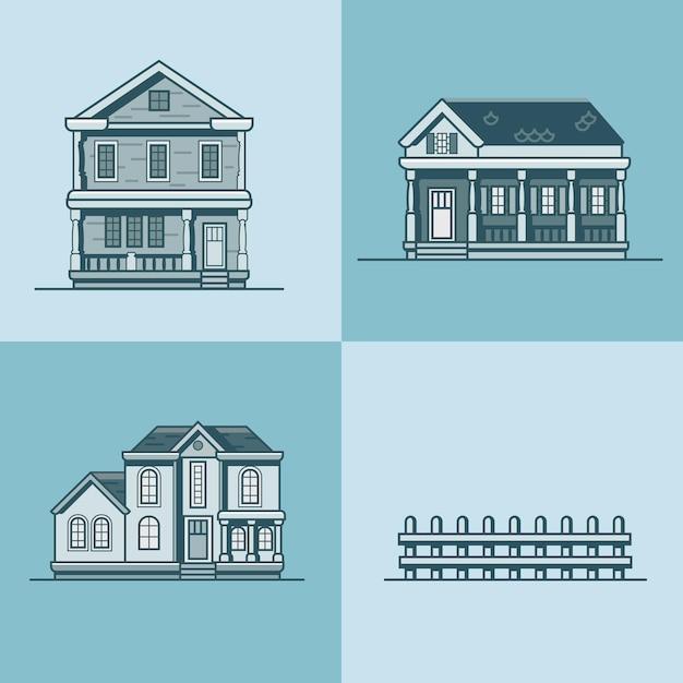 Objekt-baukastensatz der stadtstadthausarchitektur Premium Vektoren