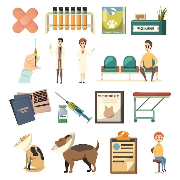 Obligatorische impfung orthogonale icons set Kostenlosen Vektoren