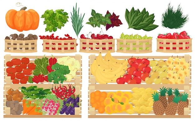 Obst, beeren und gemüse im supermarkt Premium Vektoren