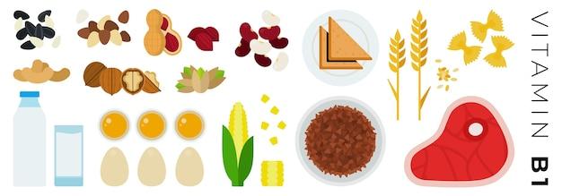 Obst gemüse und tierische produkte isoliert auf weiß Premium Vektoren