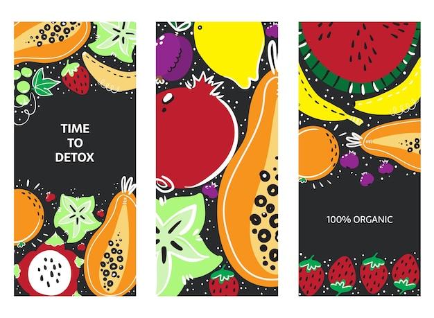Obst handgezeichnetes bannerset. gesunde mahlzeit, ernährung oder lebensstil. Premium Vektoren