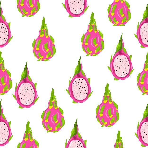 Obst. handzeichnung. nahtloses muster der drachenfrucht Premium Vektoren