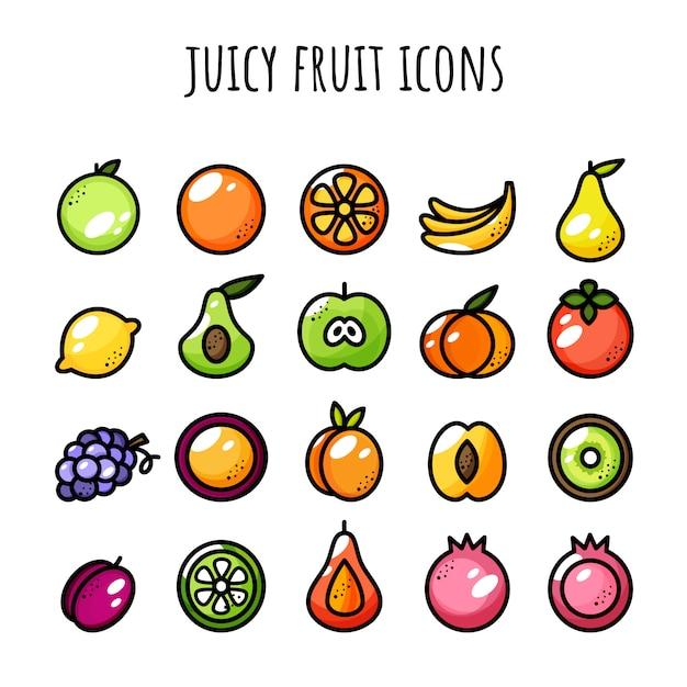 Obst-icon-set. saftige ikonen. farbe und umriss Premium Vektoren