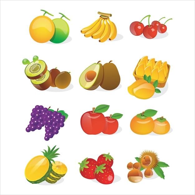 Obst-icon-set Premium Vektoren
