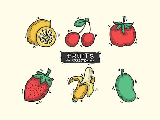 Obst-sammlung Premium Vektoren