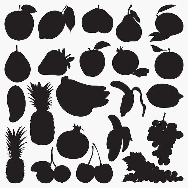 Obst-silhouetten Premium Vektoren