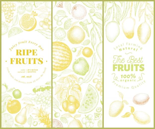 Obst und beeren banner gesetzt Premium Vektoren