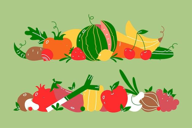 Obst und gemüse doodle set. doodle-set. hand gezeichnetes vegetarisches essen oder vegane ernährung oder menü menü wassermelone mango banane und kirsche Premium Vektoren
