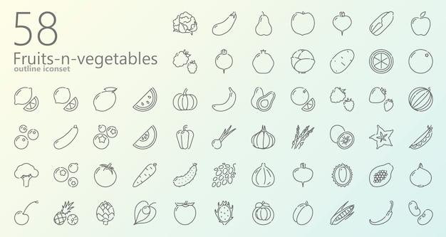 Obst und gemüse entwurfsikonensatz Premium Vektoren