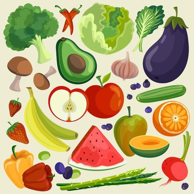 Obst und gemüse hintergrundstil Kostenlosen Vektoren