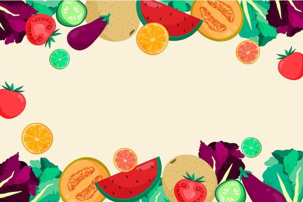 Obst und gemüse im hintergrundstil Kostenlosen Vektoren