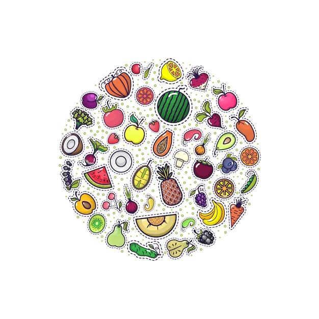 Obst und gemüse in der kreisfahne Premium Vektoren