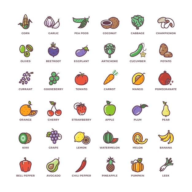 Obst und gemüse linie vektor-icons mit flachen elementen Premium Vektoren