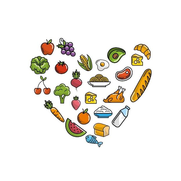 Obst und gemüse mit proteinfutter Premium Vektoren
