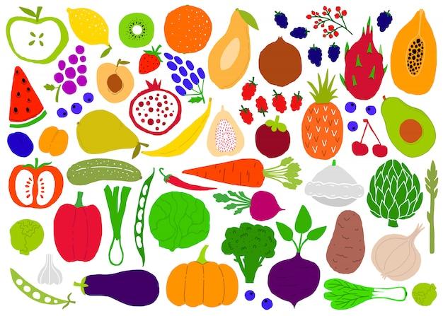 Obst und gemüse naive einfache große set silhouetten. Premium Vektoren