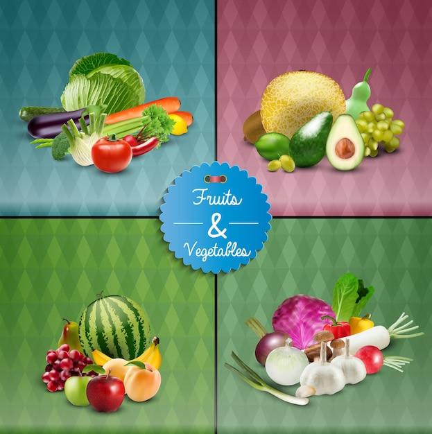 Obst und gemüse poster-design-set Premium Vektoren