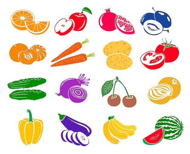 Obst und gemüse stellten ikonen in der einfachen art ein, die auf weiß lokalisiert wurde Premium Vektoren