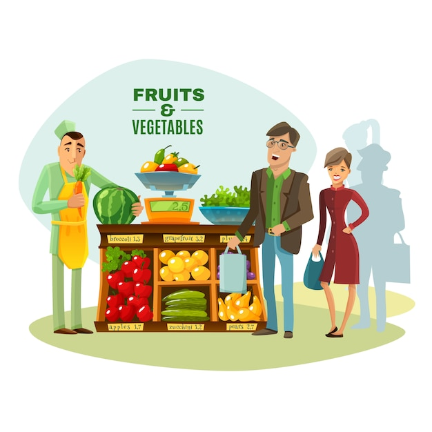Obst und gemüse verkäufer illustration Kostenlosen Vektoren