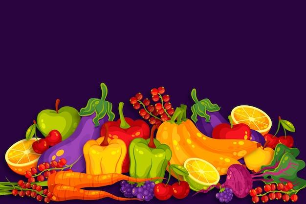 Obst- und gemüsekonzept für den hintergrund Kostenlosen Vektoren