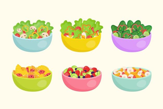 Obst- und gemüsesalat in schalen Kostenlosen Vektoren