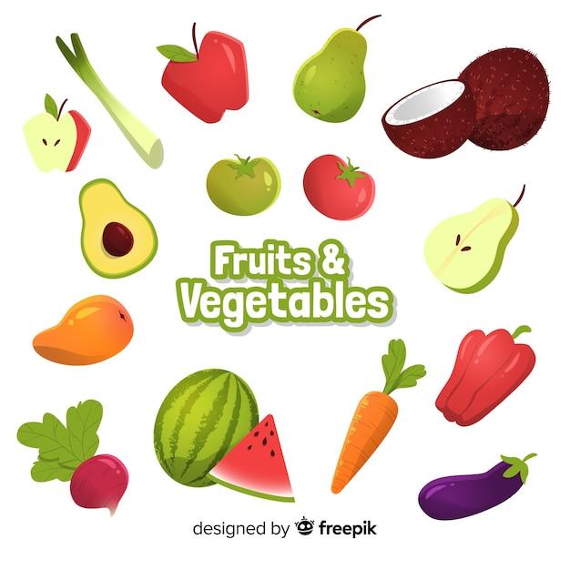 Obst- und gemüsesammlung Kostenlosen Vektoren