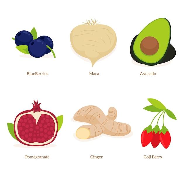Obst- und gemüsesuperfood-sammlung Kostenlosen Vektoren