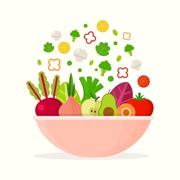 Obst- und salatschüssel Kostenlosen Vektoren