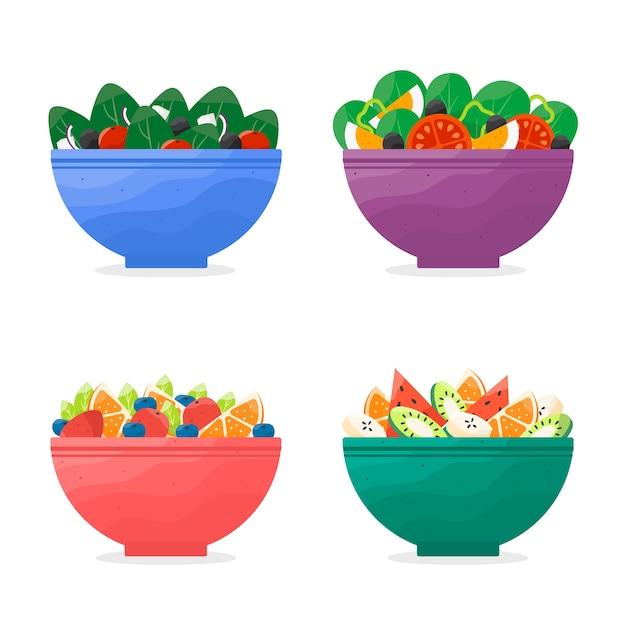 Obst- und salatschüsseln design Kostenlosen Vektoren