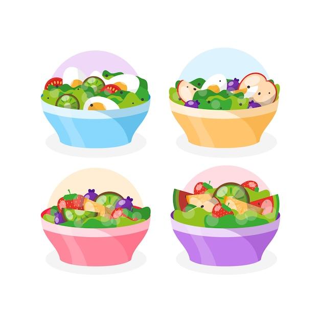 Obst- und salatschüsseln-konzept Kostenlosen Vektoren