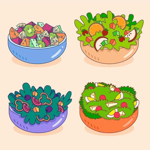Obst- und salatschüsselsammlung Kostenlosen Vektoren