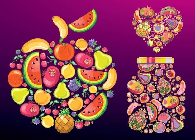 Obst-Vektoren Kostenlose Vektoren