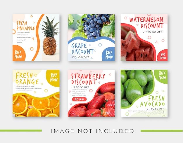 Obst verkauf banner vorlage für instagram post Premium Vektoren