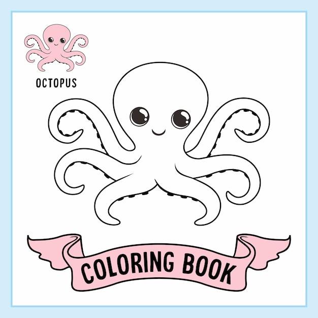 Octopus animals malvorlagen buch Premium Vektoren