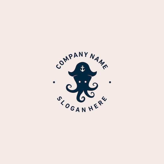 Octopus piraten-logo-vorlage Premium Vektoren