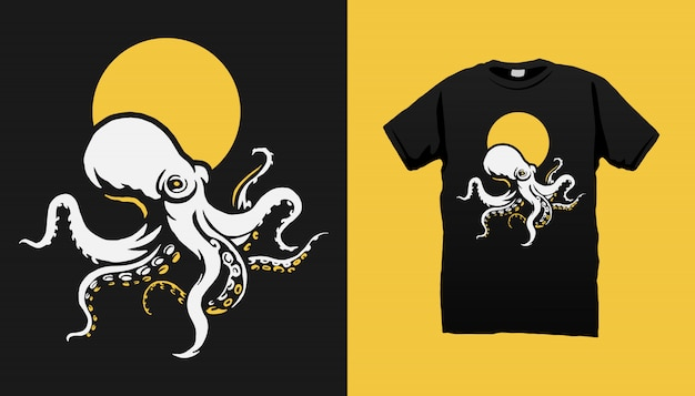 Octopus t-shirt design Premium Vektoren