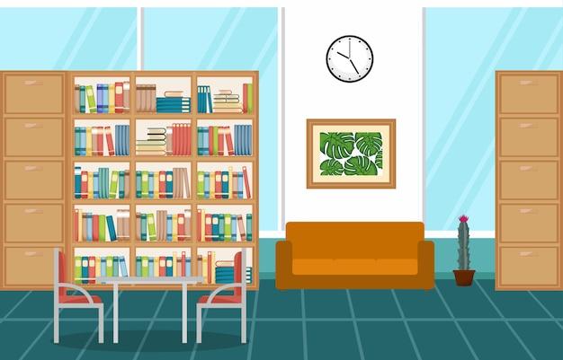 Öffentliche bibliothek-innenraum-stapel des buches auf bücherregal-wohnung Premium Vektoren