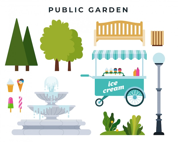 Öffentliche garten- oder parkbauer. satz verschiedene parkelemente: bäume, büsche, bank, brunnen und andere gegenstände. vektor-illustration Premium Vektoren