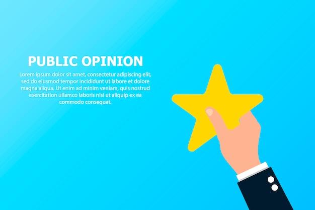Öffentliche meinung mit stern in der hand. Premium Vektoren