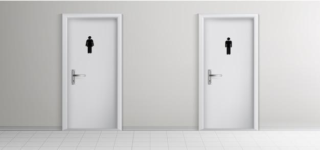 Öffentliche toilette männlich, weibliche besucher eingänge Kostenlosen Vektoren