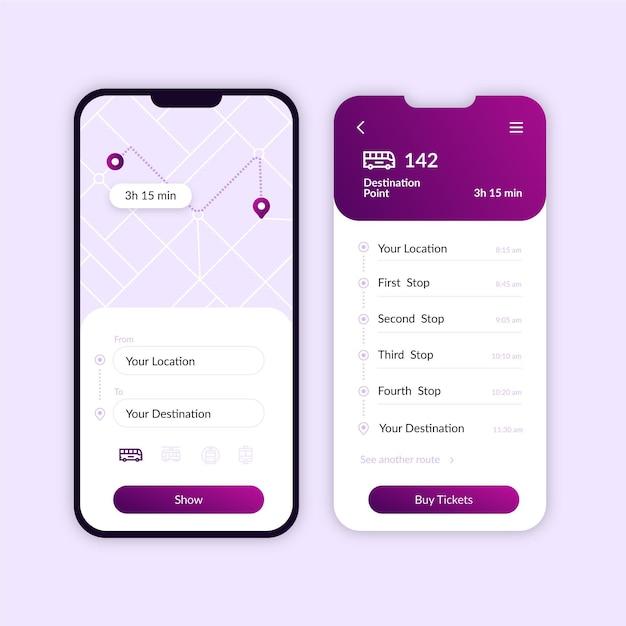 Öffentliche verkehrsmittel app bildschirmsammlung Premium Vektoren