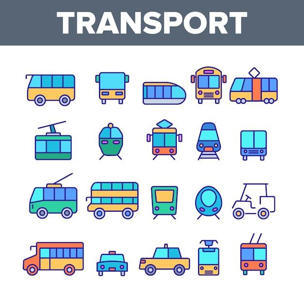 Öffentliche verkehrsmittel und fahrzeuge Premium Vektoren