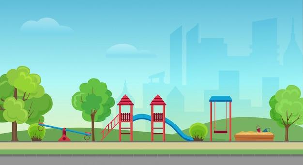 Öffentlicher park der vektorstadt mit kinderspielplatz auf dem modernen wolkenkratzerhintergrund der stadt. grüner park im stadtzentrum. Premium Vektoren