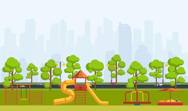 Öffentlicher park mit kinderspielplatz. Premium Vektoren