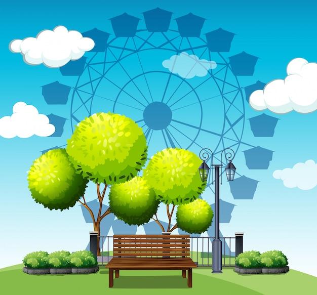 Öffentlicher park mit riesenrad Kostenlosen Vektoren