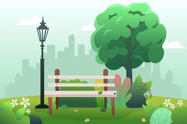 Öffentlicher park mit sitzbank und feder. Premium Vektoren