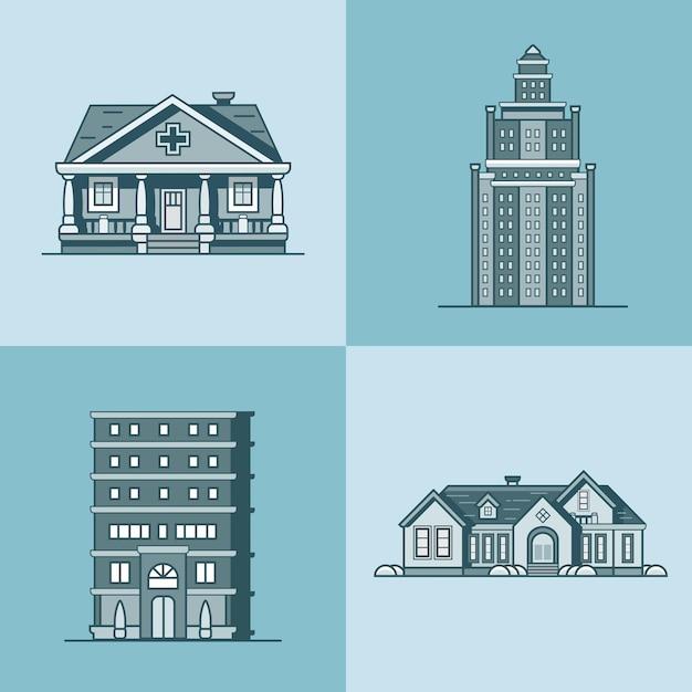 Öffentliches gebäudeset der stadthausarchitektur Premium Vektoren
