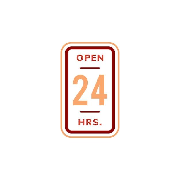 Öffnen sie 24 stunden fahne zeichen illustration Kostenlosen Vektoren