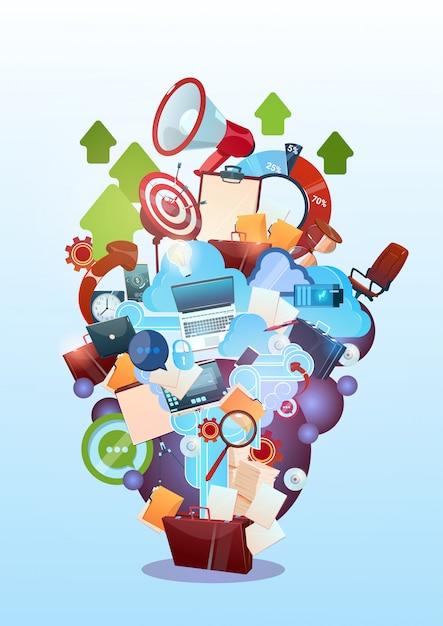 Öffnen sie aktenkoffer-marketing-teamwork-dokument und ziel-geschäftsleben-konzept Premium Vektoren