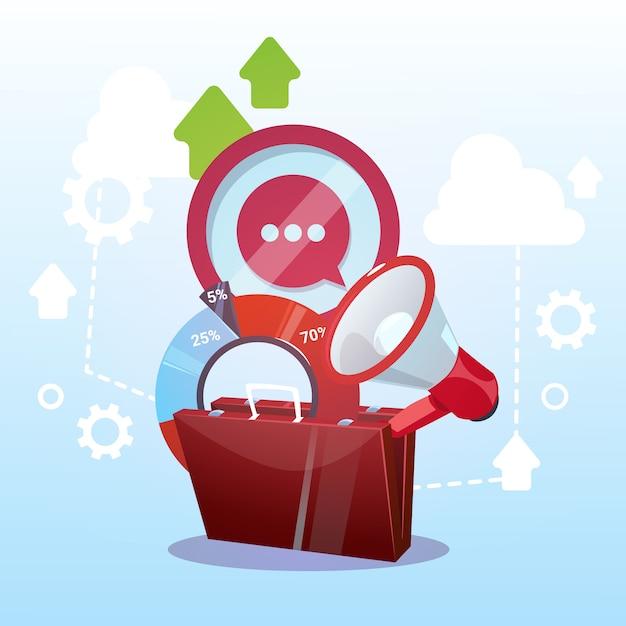 Öffnen sie aktenkoffer-marketing-teamwork und ziel-geschäftsleben-konzept Premium Vektoren