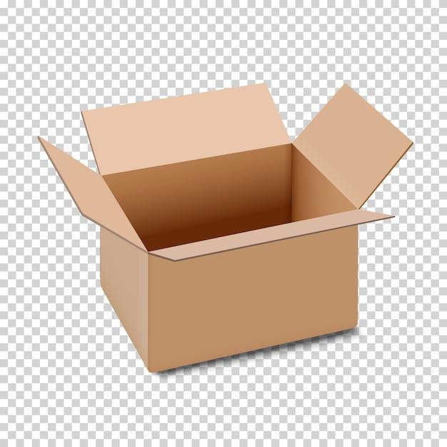 Öffnen sie das kartonkastensymbol, das auf transparentem hintergrund lokalisiert wird Premium Vektoren